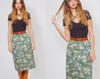 Vintage 50s PENCIL Skirt  TURQUOISE High Waisted FLORAL Skirt Midi Skirt Wiggle Skirt