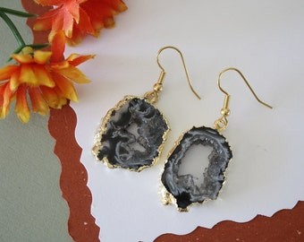 Geode Earrings Gold, Crystal Slice Earrings, Agate, Druzy Gold Earrings, GGE32