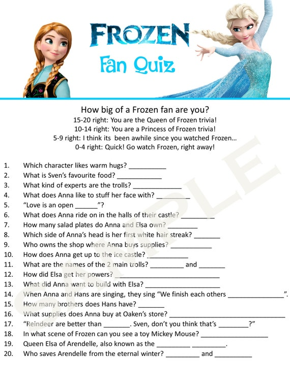 Items similar to Frozen 20 Question Quiz & Answer Sheet ...
