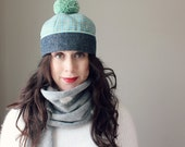TOM POM ---x--- Vintage inspired cap in 'Winter Mints', made from a vintage reclaimed tweed - M or L