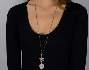 Gold Filled Long Necklace with Red Lava Rock, Gemstone Necklace, Brass Chain, Boho Chic Jewelry