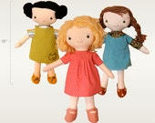"Doll Pattern: ""Kit, Chloe and Louise""  a cloth doll PDF sewing pattern"
