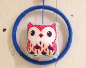 Owl Dream Catcher with Felted Wool Ball in Bright Blue and Red