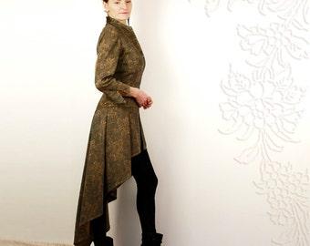 OOAK - Alluriqueen -  elegant unique longback jacket with leather art applique.