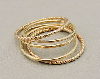 Thin Gold Ring 5 Stacking Rings above the knuckle rings, midi rings or thumb rings gold stacking ring set