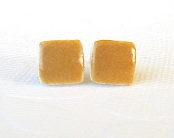 Small Stud Earrings. Square. Yellow Ochre. Clay. Amber.  Earth Tone. Honey. Curry. Ceramic. Porcelain. Post Earrings. Surgical Steel. Simple