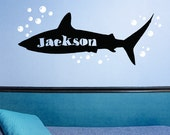 Shark Wall Decal, Personalized Name Decal for Undersea Room, Ocean Theme Kids Decor, with Bubble Set
