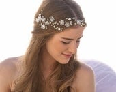 Wedding Hair Vine of Vintage Flowers Pearls and Rhinestones, Wedding Flower Crown Breial Headpiece Garden Wedding Headband Beaded Hair Vine