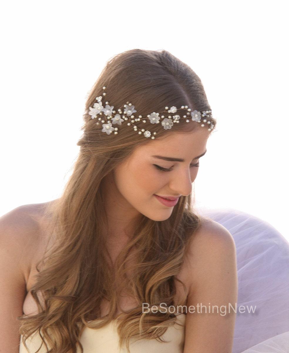 Wedding Hairstyles With Flowers: Wedding Hair Vine Of Vintage Flowers Pearls And Rhinestones