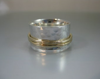 """skinny spinner ring - 3/8"""" perfectly paired silver and gold, meditation ring, fidget ring, worry ring, recycled silver, mixed metal ring"""