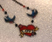 Sailor love heart and swallows tattoo necklace hand painted on shrink plastic