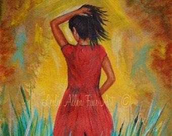 "Woman Art Painting Original Woman Painting Brunette Woman Field Wall Art Landscape Surreal ""Traquility"" Leslie Allen Fine Art"