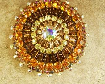 HUGE statement 166 rhinestone Brooch aurora borealis Show stopper Vintage costume jewelry unsigned beauty