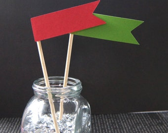 12 Christmas Flag Skewers, Cupcake Toppers or Party Picks - READY TO SHIP