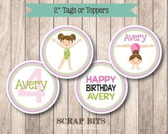 PRINTABLE . Gymnastics Girl Birthday Tags or Cupcake Toppers