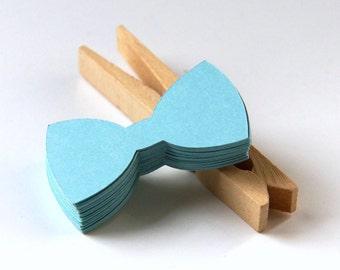 25 Small Bow Tie Die Cut Tags in Splash Blue . 2 x 1 inch