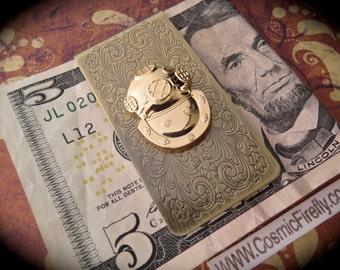 Steampunk Money Clip Diving Bell Helmet Gold Diving Mask Nautical Steampunk Antiqued Brass Money Clip Men's Money Clip Nautical Money Clip