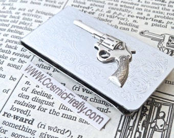 Silver Steampunk Money Clip Silver Gun Money Clip Men's Money Clip Antiqued Money Clip New Wild West Gun Western Filigree Scroll Pattern