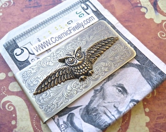 Brass Flying Owl Money Clip Steampunk Money Clip Gothic Victorian Owl Wings Vintage Inspired Antiqued Brass Money Clip Men's Money Clip New