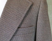1970s Vintage 70s Soft Wool Brown White Stripe Groovy Suit 42 Pants 34/32