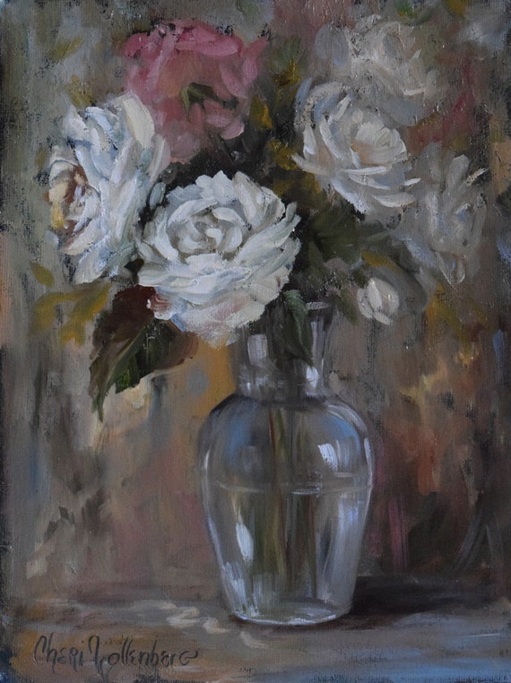 Floral Still Life, White and Pink Roses Bouque, t Glass Vase 9x12 Original Oil Canvas Painting by Cheri Wollenberg