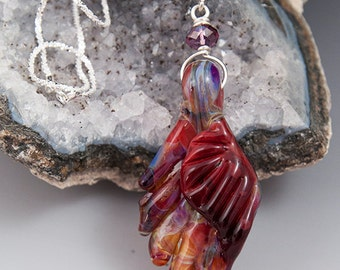 Angel Wing  handmade borosilicate lampwork pendant sterling necklace SRA