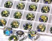Chrysolite Glacier Blue Swarovski Sew On Setting 39ss Chaton 1012 Rhinestone 4 Hole Slider Jewelry Component