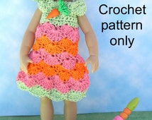 Crochet pattern (PDF) for 7-8 inch child doll - shell stitch dress & bucket hat - for Riley Kish or Betsy McCall etc.