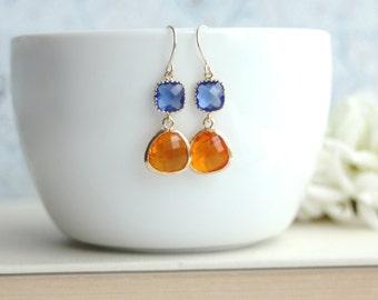 Orange and Cobalt Blue Earrings, Framed Glass Drops Earrings. Bridesmaids Gifts. Modern Jewelry. Orange Blue Wedding. Fall Wedding Earrings