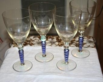 Wine Glasses/ Swirled/ Blue