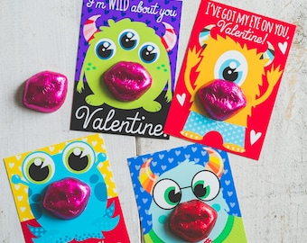 INSTANT DOWNLOAD Printable Classroom monster alien valentines candy holder chocolate lips boys funny valentine's day colorful cards