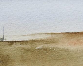 original watercolor painting of a meditative scene of sailing boats 004