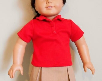 Khaki school uniform skirt with red polo shirt fits American Girl