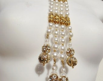 Vintage BIB Necklace Pearl Rhinestone White Gold Statement