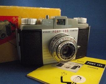 Mid Century Kodak Pony 135 Camera with Original Box