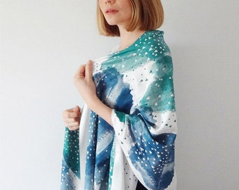 Little Lovers Hand Printed Scarf - Blue