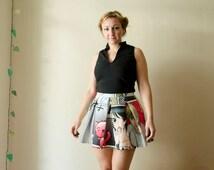 Skater Skirt Manga Cat Print With Pockets, Mini Skirt with Pleats, High Waisted Summer Skirt