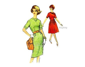 60s Dress Pattern Simplicity 4393, Bust 38 Vintage Sewing Pattern, Straight or Pleated Skirt Dress with Round Neckline, Short Sleeves,