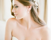 ASTER pearl bridal hair comb in gold or silver