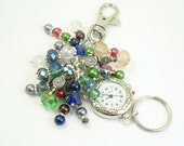 Bold Colorful Crystal Glass and Glass Pearl Cluster Beaded Key Chain, Purse Embellishment, Zipper Pull with Geneva Watch Face
