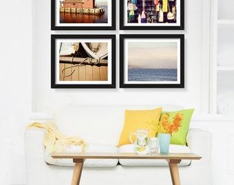 Save 20%, Nautical Photography Set, Beach Ocean Coastal Decor, New England Photography, Fishing Buoys Sea, Colorful Print Set, Rustic