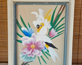 Tropical Bird Painting - Midcentry - 1950's - Inscribed