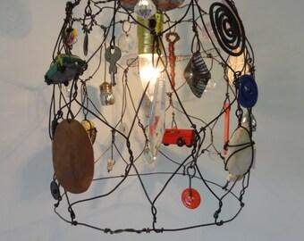 Handmade Hanging Lamp Found Object Folk Art
