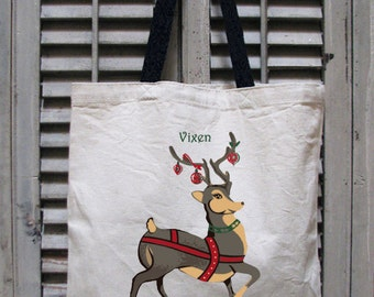 tote bag canvas - Christmas bags - Christmas tote - Christmas tote bag - santa bags -Christmas stocking -Christmas gifts - reindeer - VIXEN