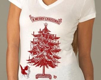 Christmas t-shirt - women's t-shirts - vintage t-shirt - cat t-shirt - A MERRY CHRISTMAS - women's white v-neck holiday t-shirt