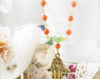 Dainty hamsa necklace - quartzite
