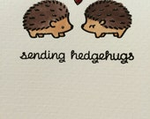 Watercolor Hedgehog Hugs White Notes Card