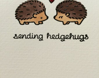 Note Card Set, Hedgehogs, thank you notes, bridal gift, graduation gift, Christmas gift, watercolor note cards