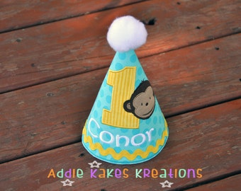 Personalized Monkey Boy Birthday Party Hat / Other Themes Can Be Done!