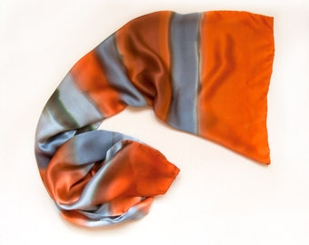 Cherga silk scarf, Hand painted scarf, Orange gray satin scarf/ Stripes Large scarf shawl, Handmade scarf, womens scarf, Christmas gift mom